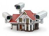 stock photo of three dimensional shape  - Security CCTV camera on the house - JPG