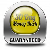 guaranteed 30 day money back button or icon 100% satisfaction customer service web shop warranty on online internet order at webshop