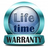 Life time warranty top quality product one years assurance and replacement best top quality guarantee guaranteed commitment blue icon or button