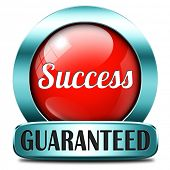 success guaranteed in life business and live in happiness and joy succeed in plan being successful concept on red button icon or sign