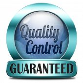 Quality control sticker or label 100% guaranteed warranty and top product survey blue icon