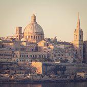 Valletta, the Capital City of Malta with retro effect.