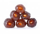 Red date - sugar preserved fruit on white background