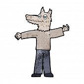 cartoon happy wolf man