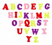 English alphabet, isolated on white