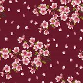 pic of eastern culture  - Seamless background texture with branch of cherry tree - JPG