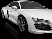 image of fuel economy  - 3d illustration of modern white sport car - JPG