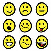 picture of smiley face  - An icon set of cartoon smiley faces in a variety of expressions - JPG