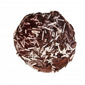 Chocolate cupcake  close up top view surface isolated over white background