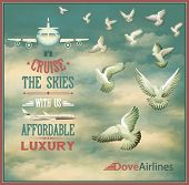 Vintage Travel Poster - Airline travel poster, with white doves and airplanes against the blue sky and white clouds