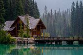 stock photo of emerald  - emerald lake lodge reflecting off of emerald lake yoho national park british columbia canada - JPG