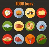 stock photo of sausage  - Set of vector food icons on colorful round buttons depicting roast meat  fish  egg  cheeseburger  pizza  cheese  salami  sandwich  sausage and lobster for use as design elements in menus - JPG