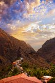 Sunset In Canyon Masca At Tenerife Island - Canary