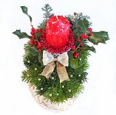 Advent Spray With Red Candle, Golden Ribbon And Holly Branch With Berries