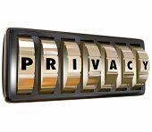 Privacy word in letters on gold lock dials keeping your personal information safe and protecting dat