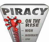 Piracy On the Rise words on a thermometer measuring illegal file sharing on internet torrent websites