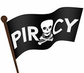 Piracy word and skull and crossbones on a black flag illegal file sharing on internet torrent websites