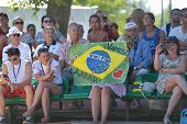 MOSCOW, RUSSIA - JULY 20, 2014: Fans support the men's double of Brazil and personally Vinicius Font