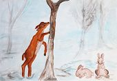 Deer And Rabbits In Winter, Children Watercolor Painting