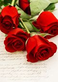 Red Roses And Old Love Letters. Retro Style