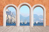 Beautiful Arcade, Vintage Wall With Lake View To Sail Boats And Mountains