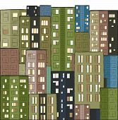 City, Colorful Panorama Of Houses Hand Drawn