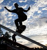 BONTIDA - JUNE 21: Unidentified skateboarder doing a slide trick during the Skateboard Competition a