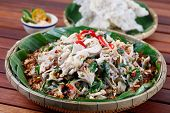Milling shredded chicken salad  ( GA XE PHAY ),  a Vietnamese traditional cuisine.