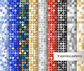 Set of seamless sequin backgrounds.