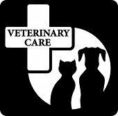 pet silhouette on black veterinary care icon