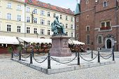 POLAND, WROCLAW - AUGUST 3: Monument comedy-writer Aleksander Fredro made of bronze in year 1897 by