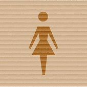 woman restroom. Flat modern web button and space for your text.