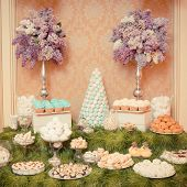 sweets on the wedding table. Vintage color.