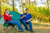 Spouses Drinking Tea In The Morning In A Camp