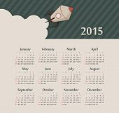 Calendar 2015 year with rocket