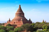 Mingalazedi Pagoda, a Buddhist stupa located in ancient Bagan city, Mandalay, region of  Myanmar. It