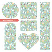 Tag set with wedding ornament .Pigeons,rings,cake
