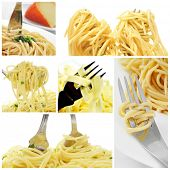 a collage of some pictures of different type of long pasta, such as spaghetti or fettuccine