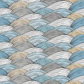 Seamless pattern with hand drawn abstract waves texture