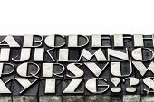 alphabet abstract in letterpress metal type printing blocks