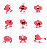 Cute bubblegum cartoon character in multiple poses
