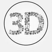 Vector Dark 3D Printer Text Icon