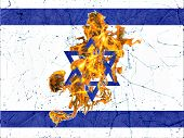 Israel Burning Flag Illustration Concept