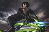 motorbike, Sensual and Beautiful brunette woman on a motorcycle