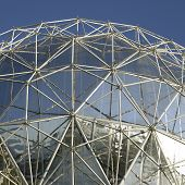 picture of geodesic  - Large silver dome and clear blue sky - JPG
