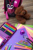 Many school stationery school bags teddy bears a heap