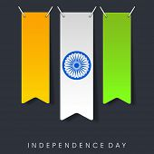 Shiny national tricolors stripe with Asoka Wheel on grey background for 15th of August, Indian Indep