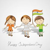 Cute little kids in national tricolors dress and holding hands together on grey background for 15th