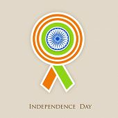 pic of indian independence day  - Badge in Indian national colors with Asoka Wheel on beige background for 15th of August - JPG