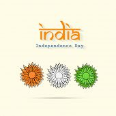 Beautiful flowers in national tricolors on beige background for 15th of August, Indian Independence